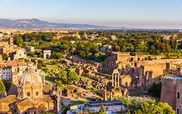 Vue aérienne de Roman Forum Photos stock