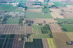 Vue aérienne de vallée de PO, Italie Photos libres de droits