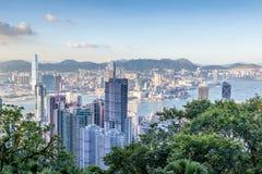 Vue aérienne de Victoria Harbor en Hong Kong Images libres de droits