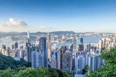 Vue aérienne de Victoria Harbor en Hong Kong Photographie stock libre de droits