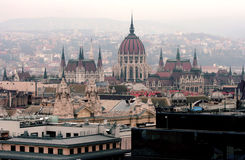 Vue aérienne du bâtiment du Parlement de la Hongrie à Budapest Photo libre de droits