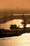 Vue aérienne du port de Rotterdam chez Netherland Images libres de droits