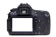 Vue arrière d'appareil-photo de DSLR Photographie stock