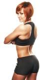 Vue arrière d'athlète féminin d'ajustement sur du fond blanc Images libres de droits