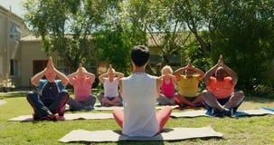 Vue arrière d'entraîneur féminin formant les personnes supérieures en exécutant le yoga au studio 4k de forme physique banque de vidéos