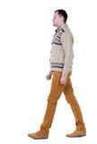 Vue arrière d'homme bel allant dans les jeans et le chandail chaud Photographie stock libre de droits