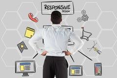 Vue arrière d'homme d'affaires regardant le texte et les icônes sensibles de conception Photo stock