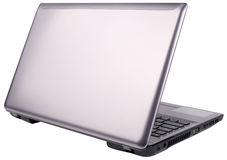 Vue arrière d'ordinateur portatif d'isolement Photo libre de droits