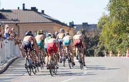 Vue arrière d'un groupe de cyclistes de triathlete Photographie stock libre de droits