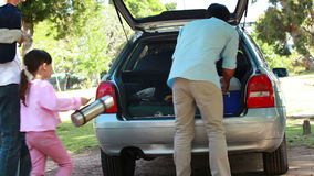 Vue arrière d'un homme plaçant son refroidisseur dans sa voiture clips vidéos