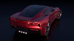 Vue arrière d'une belle voiture de sport rouge avec la conception américaine illustration stock