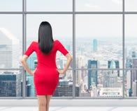 Vue arrière de brune magnifique dans la robe rouge Photographie stock libre de droits