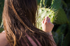 Vue arrière de cactus de fille d'épines de long dos émouvant de cheveux Photo libre de droits