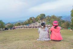 Vue arrière de deux amis divers sur la montagne Photographie stock