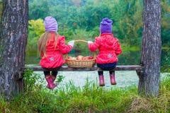 Vue arrière de deux belles soeurs sur le banc par Photo stock