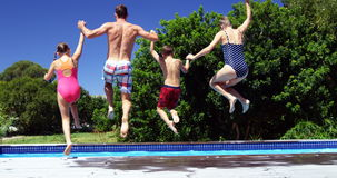 Vue arrière de famille sautant dans la piscine banque de vidéos