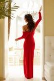 Vue arrière de femme élégante avec le verre de vin photos libres de droits