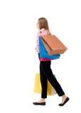 Vue arrière de femme allante avec des sacs à provisions Photographie stock