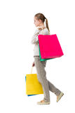 Vue arrière de femme allante avec des sacs à provisions Photo libre de droits