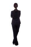 Vue arrière de femme d'affaires d'isolement sur le blanc Photographie stock libre de droits