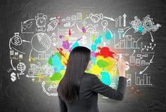 Vue arrière de femme dessinant les icônes colorées d'affaires Images stock