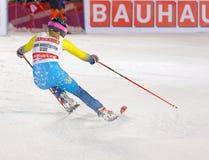 Vue arrière de Frida Hansdotter SWE dans le slalom parallèle photos stock