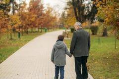 Vue arrière de grand-papa et de petit-fils en parc Enfance Automne photo stock