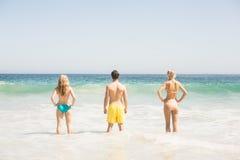 Vue arrière de jeunes amis se tenant sur la plage Photographie stock libre de droits