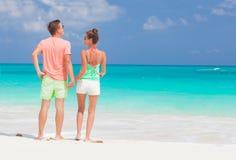 Vue arrière de jeunes couples romantiques heureux tenant des mains sur la plage Image libre de droits