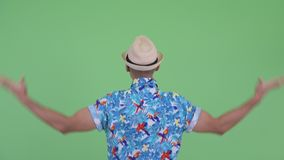 Vue arrière de l'homme de touristes ethnique multi dirigeant le doigt banque de vidéos