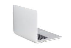 Vue arrière de l'tourné à un ordinateur portable moderne de léger angle image stock