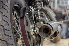 Vue arrière de la moto, détail de pot d'échappement Photos stock
