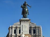 Vue arrière de la statue équestre de Philip IV à Madrid, Espagne images libres de droits