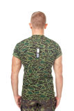 Vue arrière de soldat d'armée se tenant dans l'attention image libre de droits
