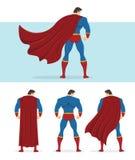 Vue arrière de super héros avec le cap rouge entrant dans le vent illustration de vecteur
