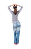 Vue arrière de tenir la jeune belle femme de brune Photos stock