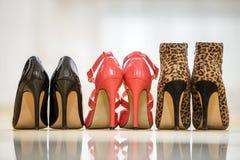 Vue arrière de trois paires de chaussures femelles en cuir de talon haut confortable à la mode sur le fond clair de l'espace de c photographie stock libre de droits