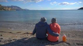 Vue arrière des couples romantiques se reposant sur la plage et le regard à la mer banque de vidéos