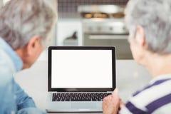 Vue arrière des couples supérieurs utilisant l'ordinateur portable Images stock