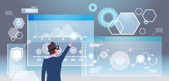 Vue arrière des verres d'In 3d d'homme d'affaires utilisant le concept futuriste de technologie de réalité virtuelle d'interface illustration de vecteur
