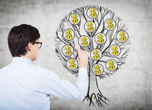 Vue arrière du jeune professionnel qui dessine un arbre avec des symboles dollar sur le mur en béton Le concept de la richesse et Photos stock