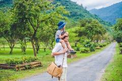 Vue arrière du père et du fils marchant sur une route scénique Images stock