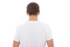 Vue arrière du T-shirt blanc sur un homme d'isolement au-dessus du blanc Image stock