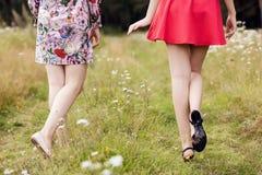 Vue arrière sur des jeunes femmes marchant en parc Photo stock
