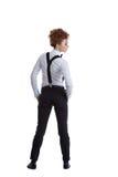 Vue arrière sur le danseur féminin élégant dans le costume formel Image stock