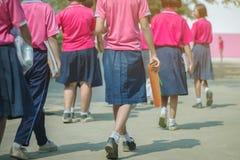 Vue arri?re des ?tudiantes primaires de bonheur dans la chemise rose et la promenade bleue de jupe aux salles de classe photo stock