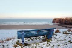 Vue atlantique de banc de l'hiver de plage et de falaises Image libre de droits