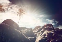 Vue atmosphérique de Virgin Gorda, des Caraïbes photos libres de droits