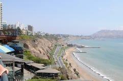 Vue au costline de Lima de mer de Miraflores photo libre de droits