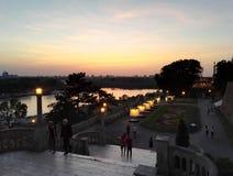 Vue au coucher du soleil du parc de Kalemegdan, Belgrade, Serbie photos stock
